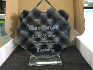 Gamification Nation winning Excellence for no-tech gamification design Award at GamiCon18 in Chicago USA